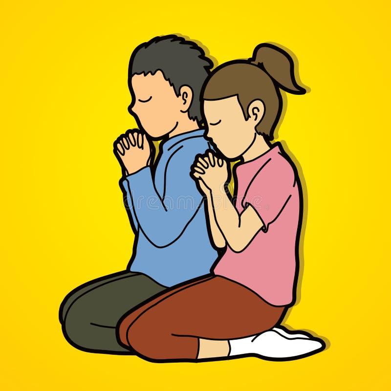 O menino e a menina rezam junto, oração, crianças rezando do cristão rezam com deus ilustração royalty free
