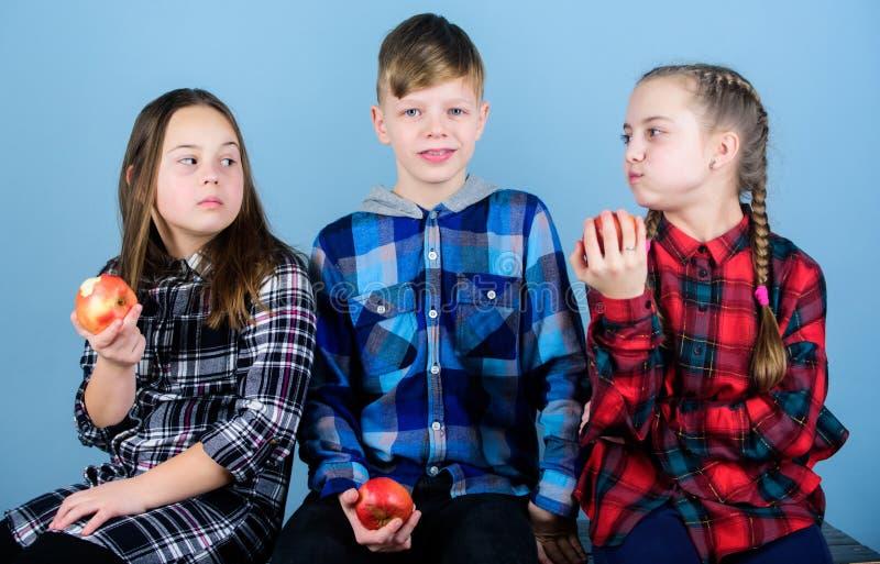 O menino e os amigos de meninas comem o petisco da maçã ao relaxar Conceito do petisco da escola Adolescentes alegres do grupo qu fotos de stock royalty free