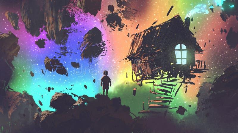 O menino e uma casa em um lugar estranho ilustração do vetor