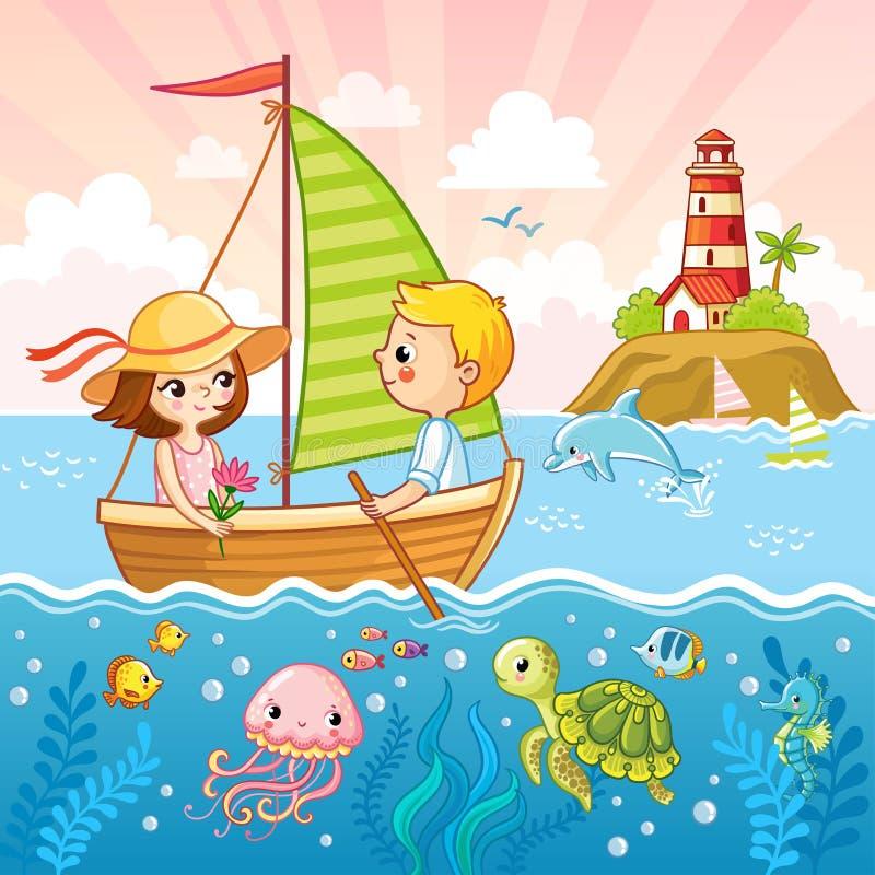 O menino e uma menina estão navegando em um veleiro pelo mar ilustração do vetor