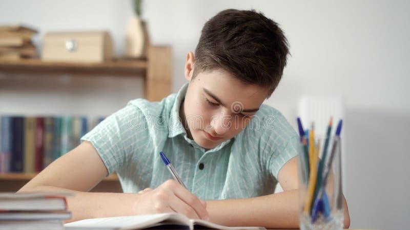 O menino escreve e faz as lições fotos de stock royalty free