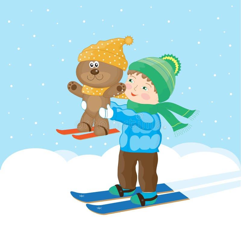 O menino está esquiando ilustração stock