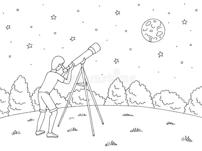 O menino está olhando as estrelas através de um telescópio Vetor branco preto gráfico da ilustração do esboço da paisagem da pais ilustração do vetor