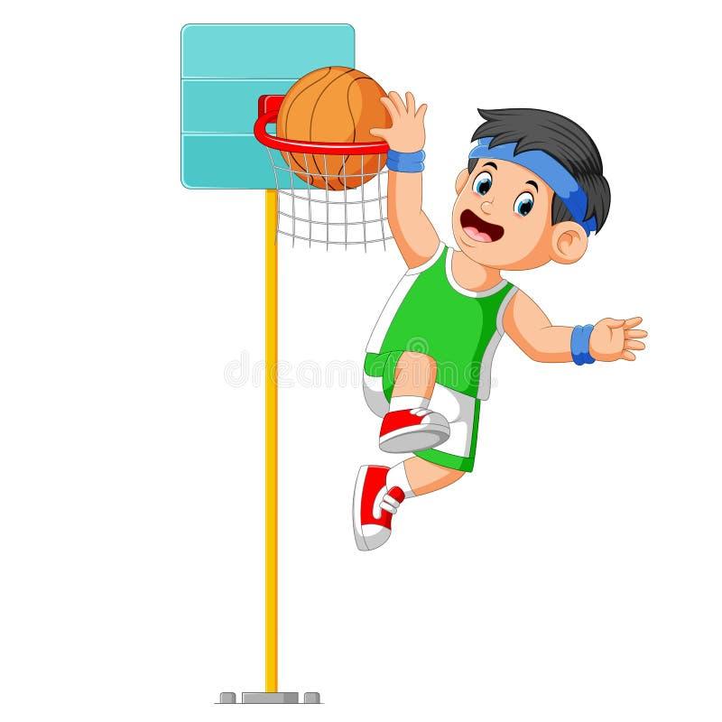 o menino está saltando para faz a contagem na bola da cesta ilustração stock