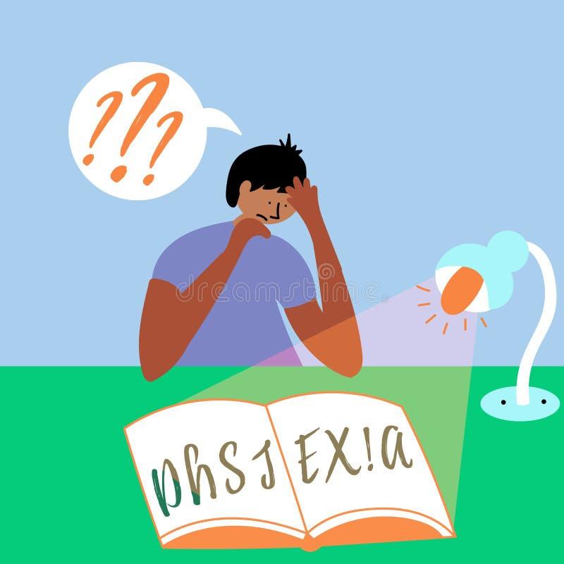 O menino está tentando ler um livro Dislexia invisível da desordem ilustração do vetor