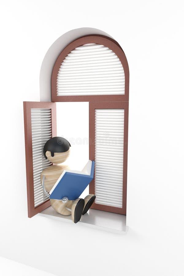 O menino leu o livro ilustração do vetor