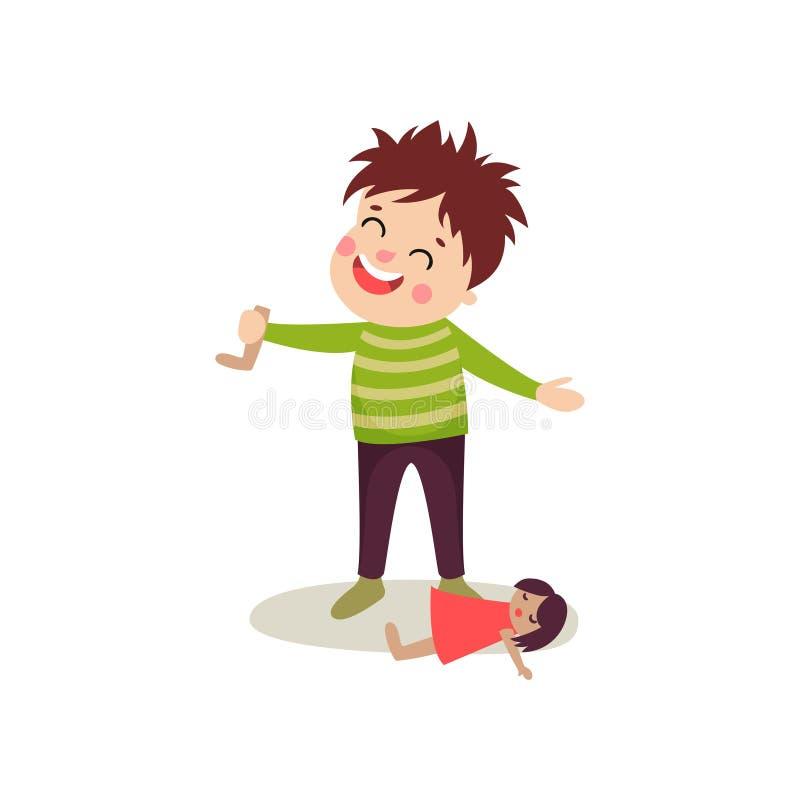 O menino mau com cara feliz rasgou fora o pé da boneca s, criança da intimidação que demonstra o comportamento mau ilustração royalty free