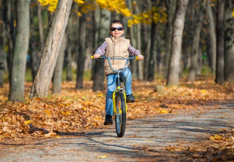 O menino monta uma bicicleta no parque imagem de stock