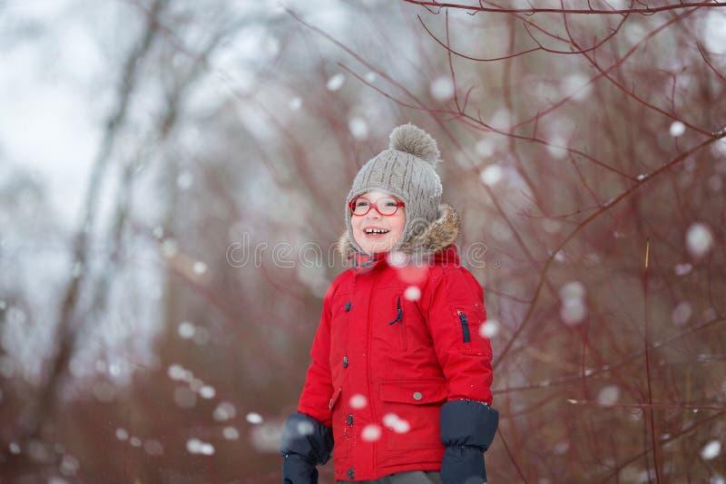 O menino novo no campo sorri no dia da neve do winer imagens de stock