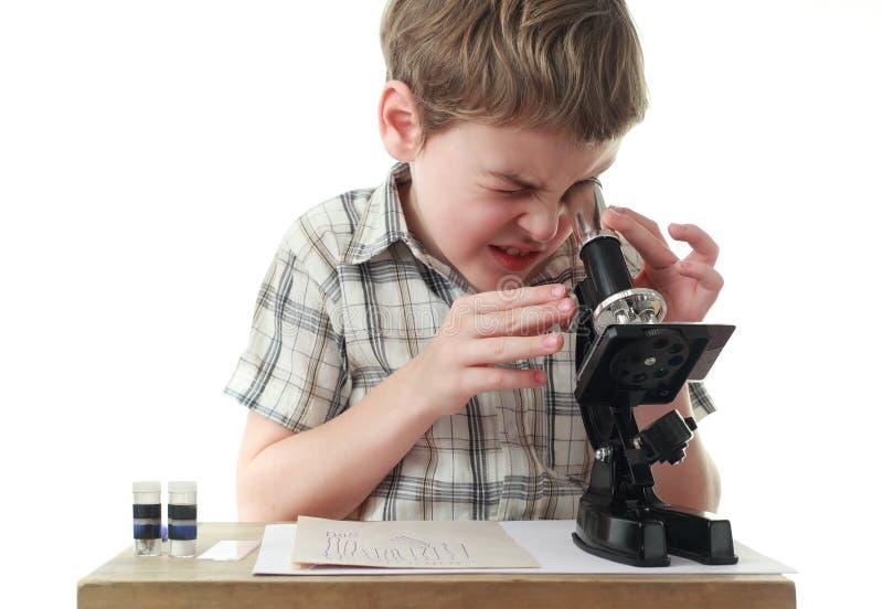 O menino olha fixamente no microscópio preto fotos de stock royalty free