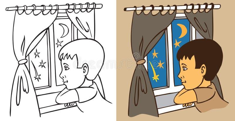 O menino olha para fora a janela na noite ilustração do vetor