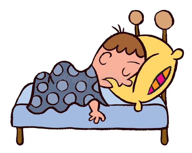 O menino oversleep ilustração royalty free