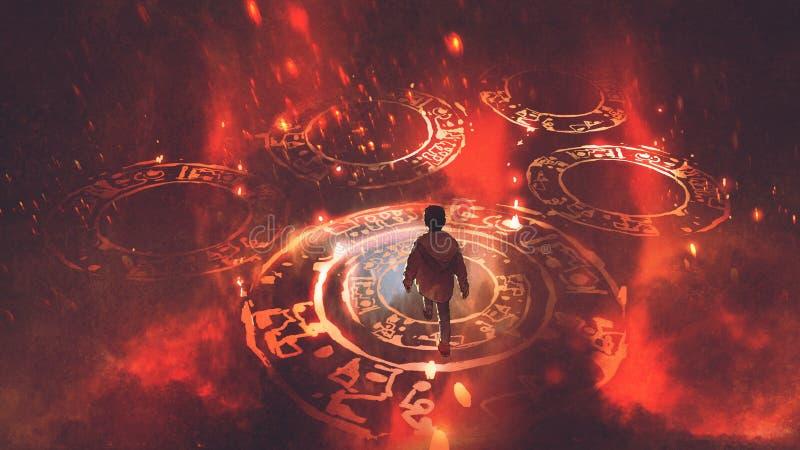O menino que anda em círculos mágicos ilustração do vetor