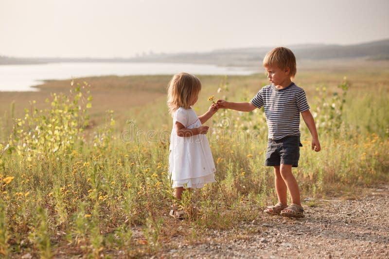 O menino que dá o ramalhete da mola floresce à menina feliz fotos de stock royalty free