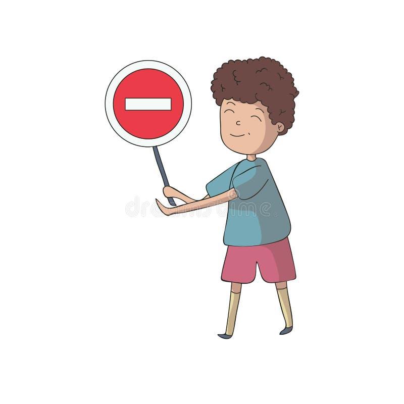 O menino que guarda um sinal de tráfego é proibido Ilustra??o do vetor isolada no fundo branco ilustração stock