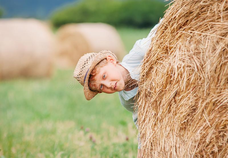 O menino que joga no campo com feno rola foto de stock royalty free