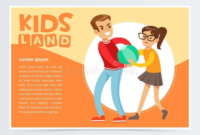 O menino que tiraniza uma menina, crianças adolescentes que discutem, comportamento agressivo, crianças aterra o elemento liso do ilustração do vetor