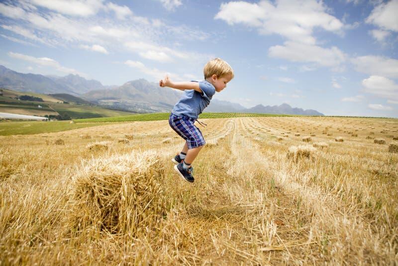 O menino salta de Hay Stack em Sunny Field fotografia de stock royalty free