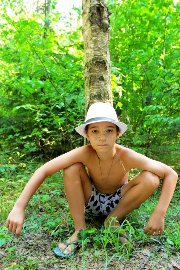 O menino senta-se na grama perto do vidoeiro fotografia de stock