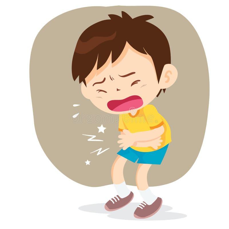 O menino tem a dor de estômago ilustração do vetor