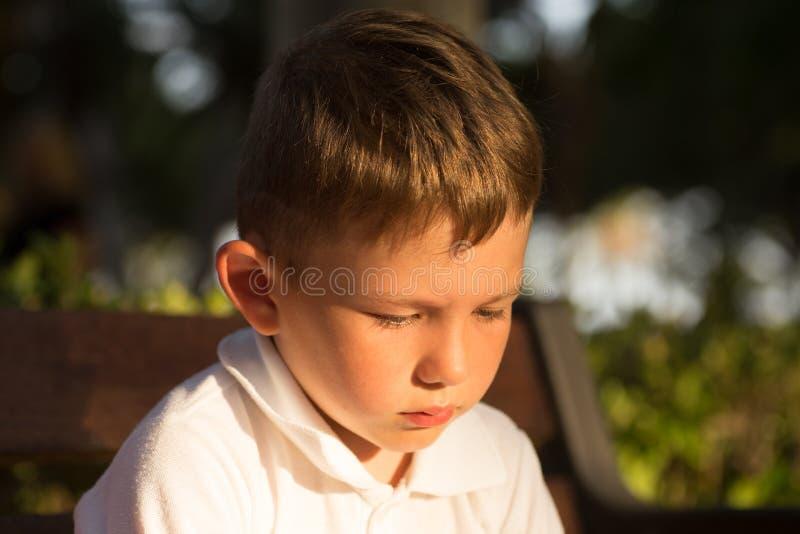 O menino triguenho pequeno bonito do cabelo, tem a cara séria, olhos felizes Retrato da criança Adultos novos Fim acima foto de stock royalty free