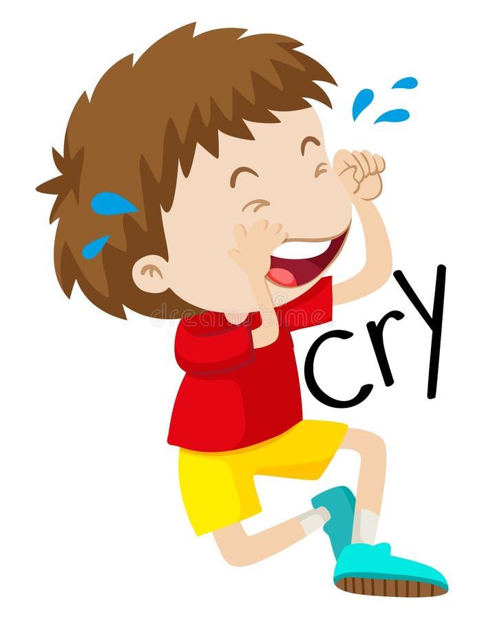 O menino triste que grita o seu rasga para fora ilustração do vetor
