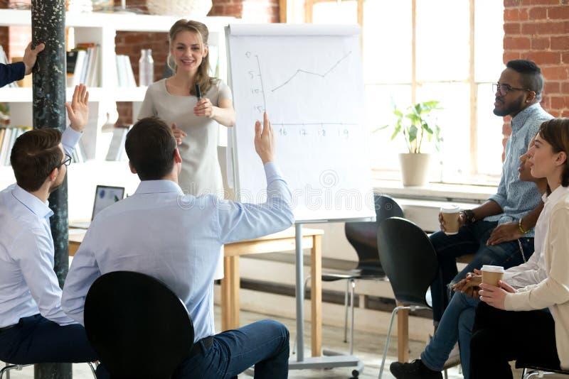 O mentor fêmea convida a ideia atual do empregado no flipchart imagens de stock royalty free