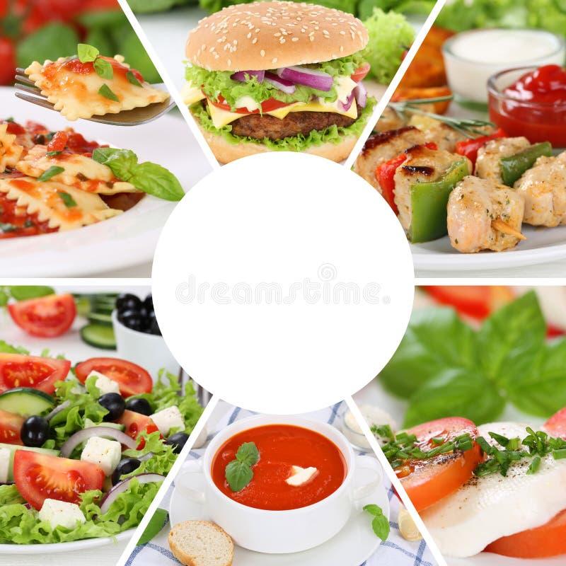 O menu da colagem da coleção do alimento que come bebidas come o restau das refeições da refeição imagens de stock royalty free