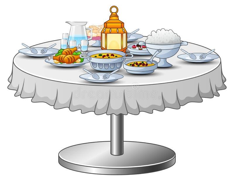 O menu delicioso para o partido iftar está na tabela ilustração do vetor