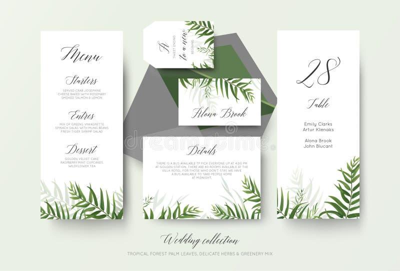 O menu do casamento, etiqueta, cartão do lugar, detalhes, número da tabela carda o flo ilustração stock