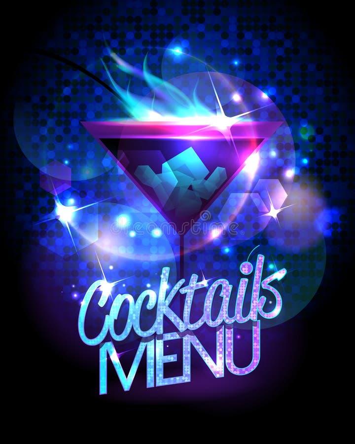 O menu dos cocktail com cocktail e o disco ardentes sparkles ilustração stock