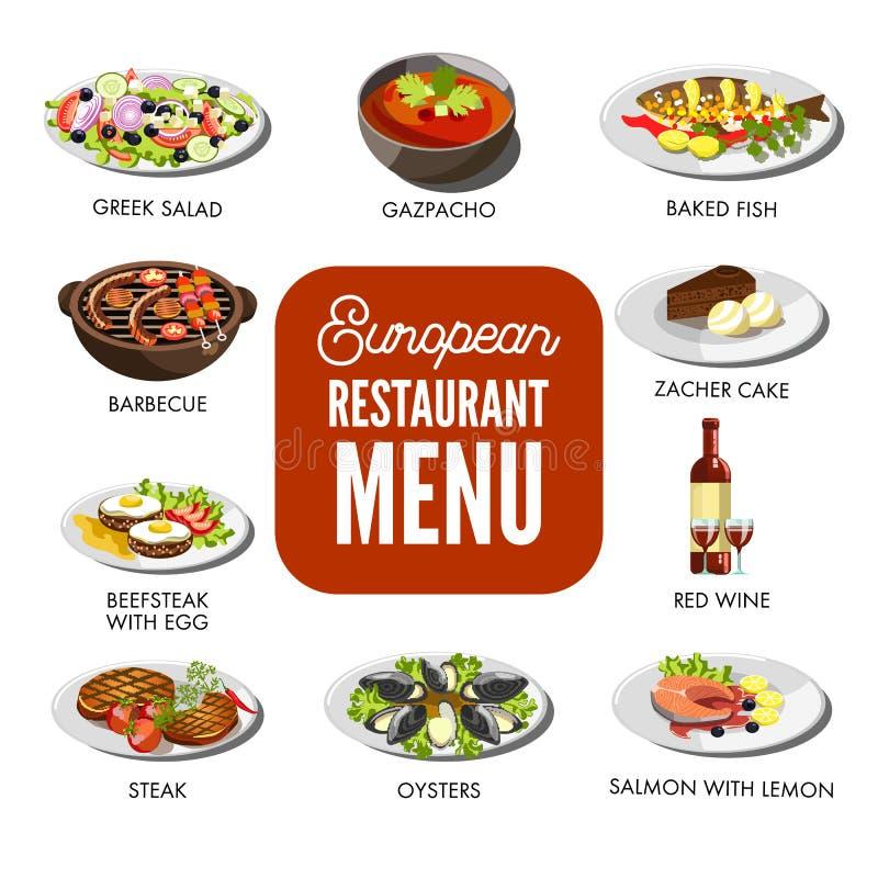 O menu europeu do restaurante com culinária excelente isolou as ilustrações ajustadas ilustração do vetor