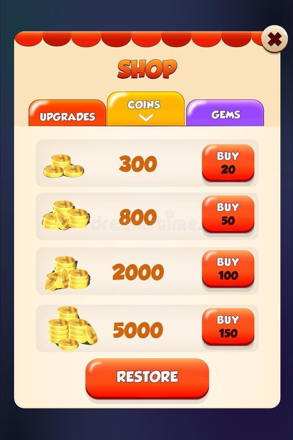O mercado da loja e a cena do app da pensão da loja estalam acima o menu ilustração stock
