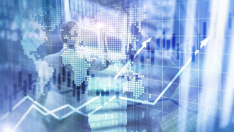 O mercado de valores de ação financeiro representa graficamente o conceito de ROI Return On Investment Business da carta da vela ilustração do vetor