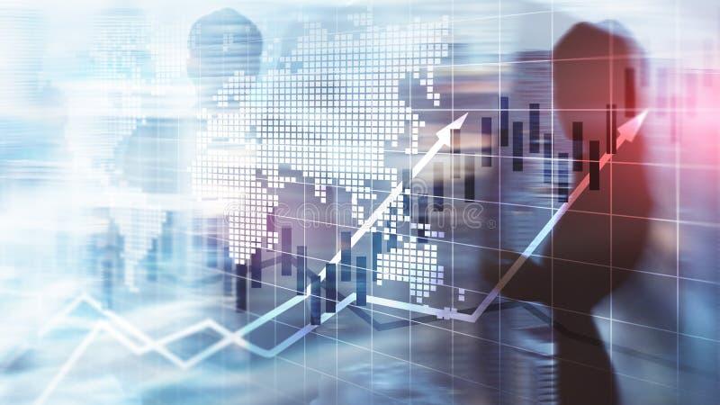O mercado de valores de ação financeiro representa graficamente o conceito de ROI Return On Investment Business da carta da vela foto de stock