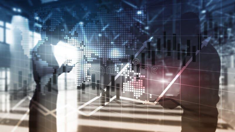 O mercado de valores de ação financeiro representa graficamente o conceito de ROI Return On Investment Business da carta da vela ilustração royalty free
