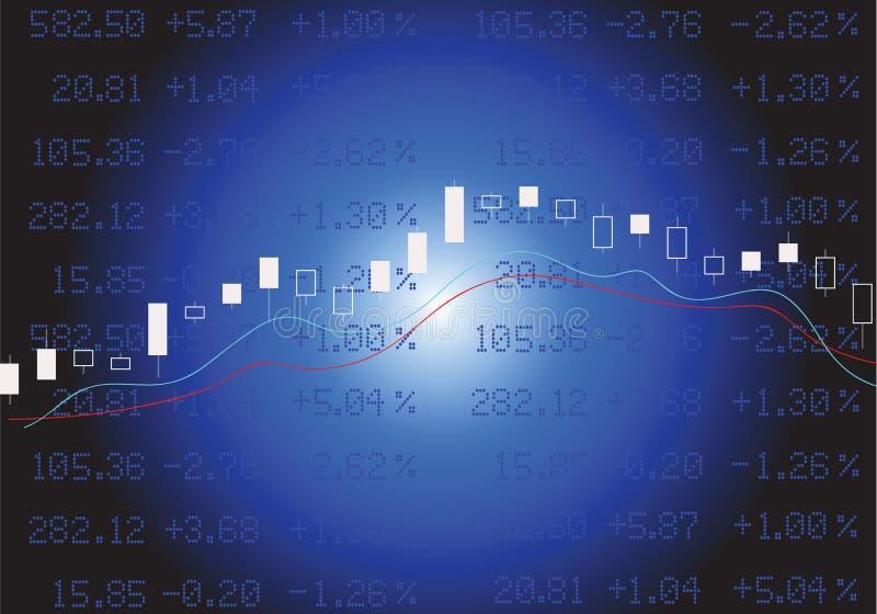 O mercado de valores de ação no azul ilustração do vetor