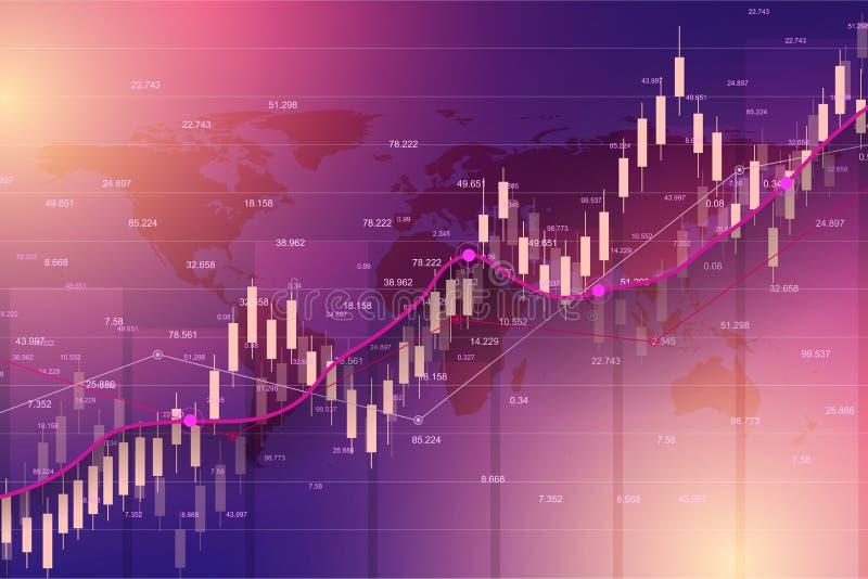 O mercado de valores de ação ou o gráfico de troca dos estrangeiros fazem um mapa de apropriado para o conceito do investimento f ilustração royalty free