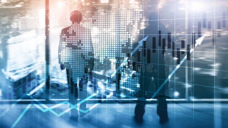 O mercado de valores de a??o financeiro representa graficamente o conceito de ROI Return On Investment Business da carta da vela ilustração royalty free