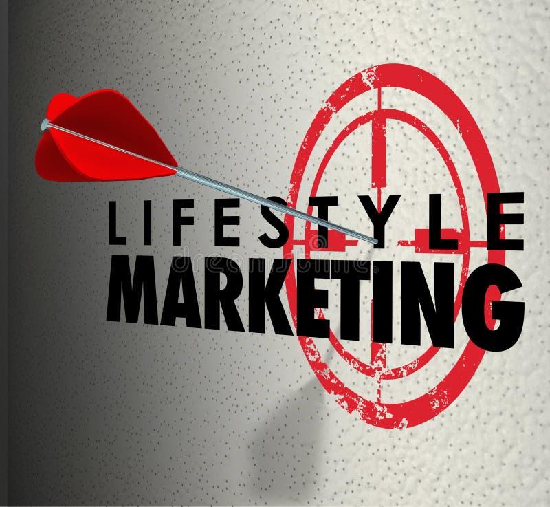 O mercado do estilo de vida exprime a seta que bate o interesse pessoal do alvo ilustração royalty free