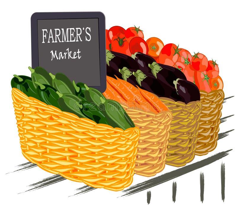 O mercado do fazendeiro, legumes frescos em uma cesta, ilustração do vetor ilustração do vetor