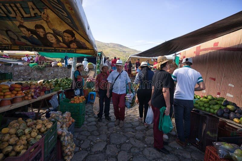 O mercado do ` s do fazendeiro em Casa de campo de Leyva Colômbia fotos de stock royalty free