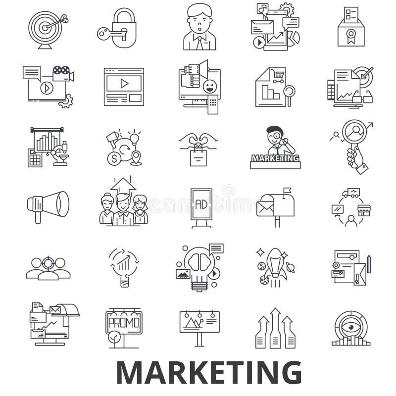 O mercado, estratégia de marketing, propaganda, negócio, marcando, meios sociais alinha ícones Cursos editáveis Projeto liso ilustração do vetor