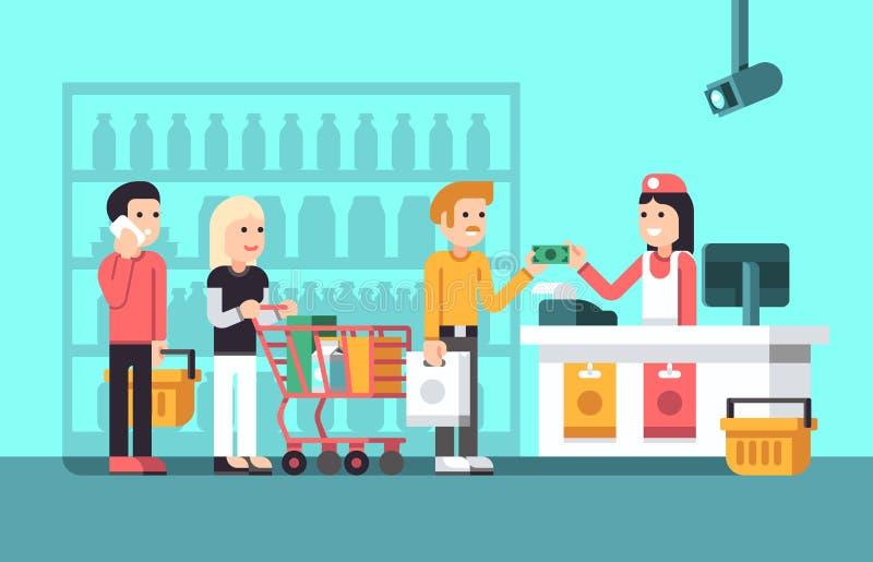 O mercado super, o interior da alameda com povos, a vendedora e a loja indicam a ilustração lisa do vetor ilustração stock