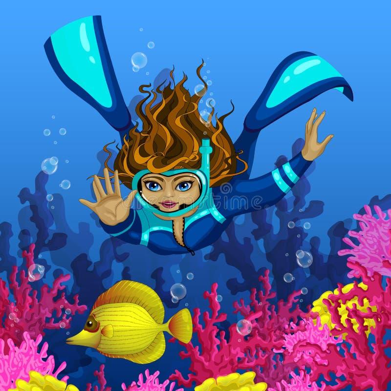 O mergulhador da mulher mergulha para peixes tropicais amarelos Contra o contexto do coral cor-de-rosa Vector a ilustração do mun ilustração do vetor