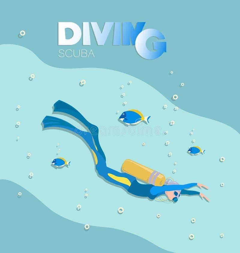 O mergulhador de mergulhador da menina nada sob a água com peixes tropicais ilustração stock
