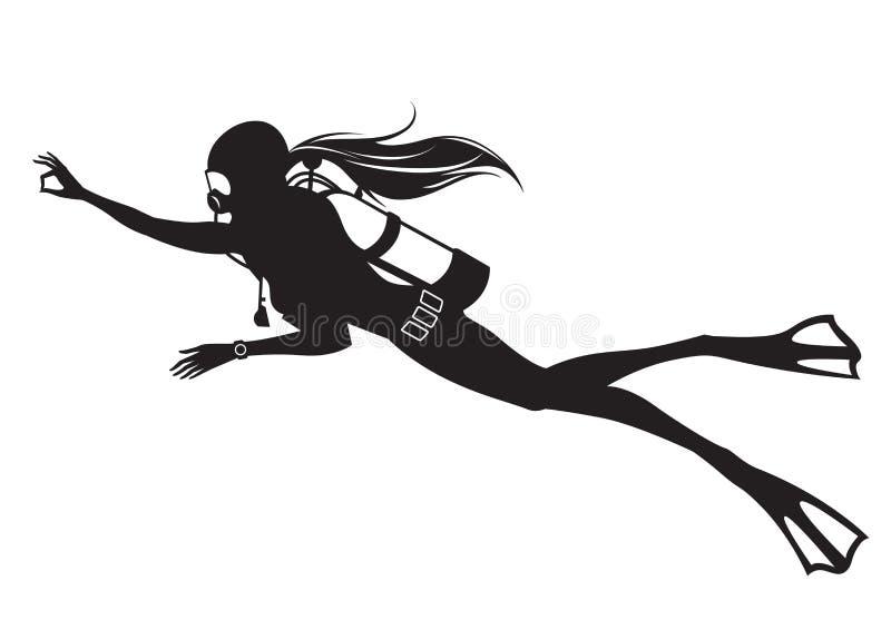 O mergulhador do mergulhador dá uma APROVAÇÃO do sinal. ilustração do vetor
