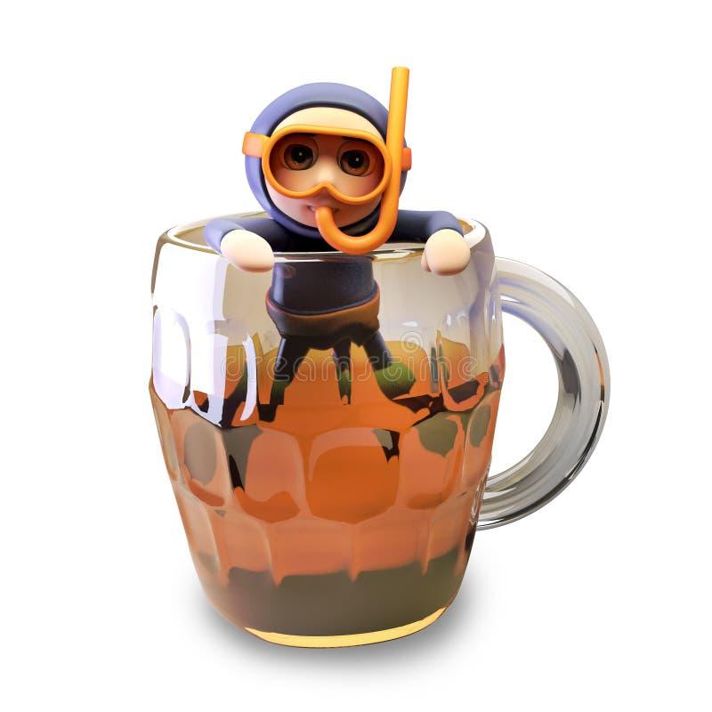 O mergulhador engraçado do tubo de respiração do mergulhador dos desenhos animados 3d surgiu de uma pinta da cerveja, ilustração  ilustração stock