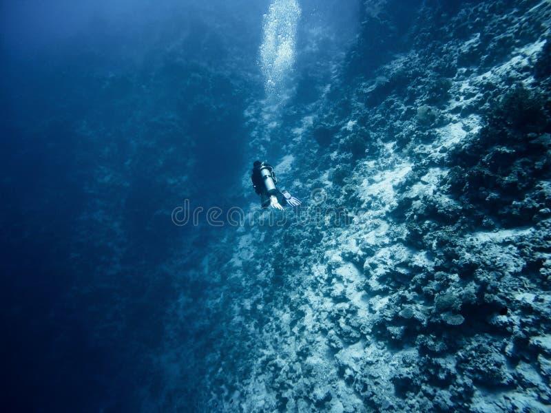 O mergulhador entra profundamente no mar foto de stock royalty free