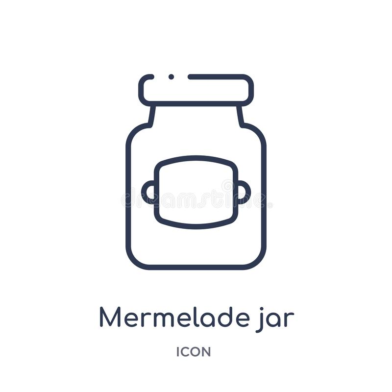 O mermelade linear range o ícone da coleção do esboço dos restaurantes e do restaurante Linha fina vetor do frasco do mermelade i ilustração stock